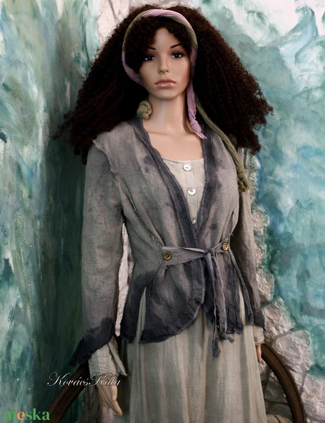 LINEN-FLAX JACKET- artsy design kabátka - ruha & divat - női ruha - blézer & kosztüm - Meska.hu