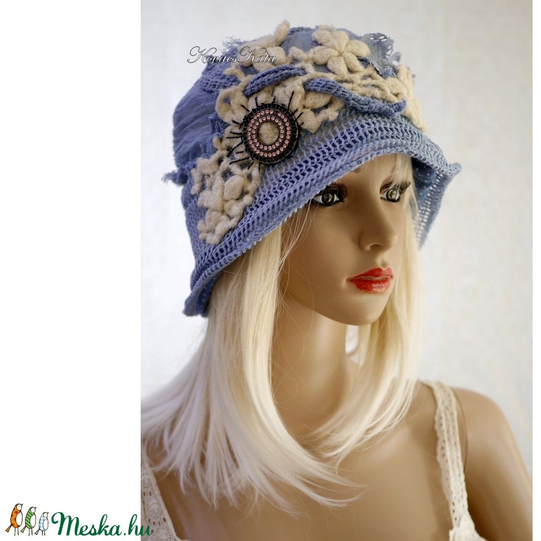 ART DECO - flapper kalap / égkék - ruha & divat - sál, sapka, kendő - kalap - Meska.hu