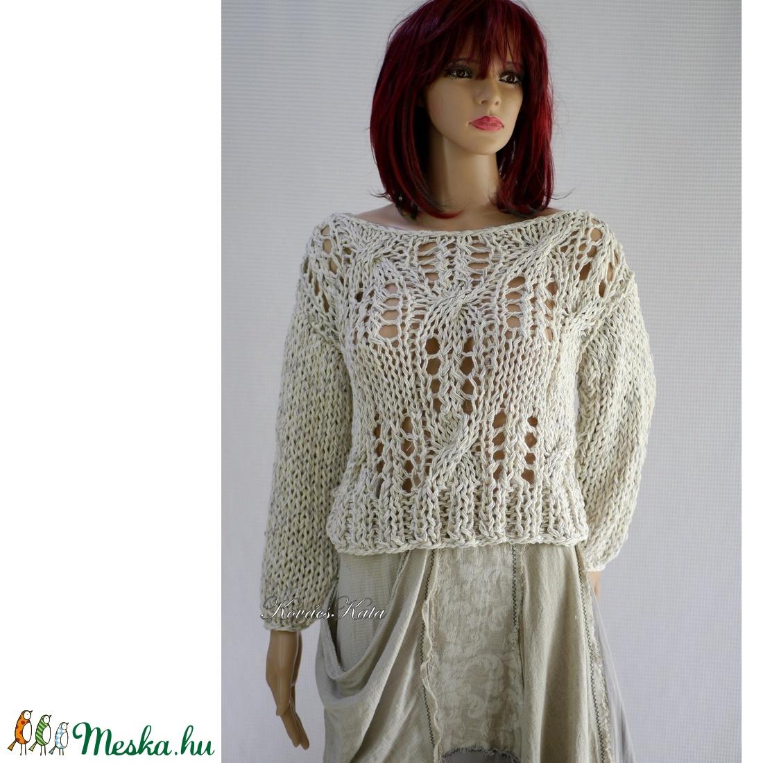 LOTTE - kézzel kötött romantikus pamut-pulóver /  - ruha & divat - női ruha - pulóver & kardigán - Meska.hu