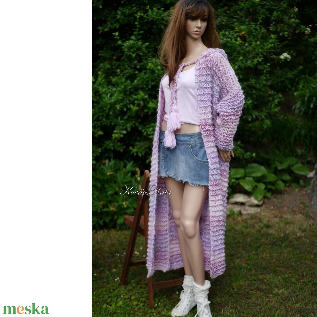 MAXI-KARDI / RÓZSAKERT - trendi kézzel kötött kapucnis gyapjúkabát - ruha & divat - női ruha - kabát - Meska.hu