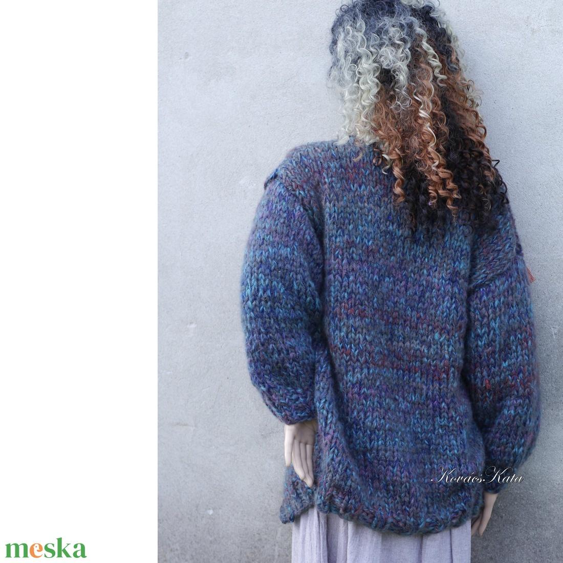 BETSEY CHUNKY - exkluzív kézzel kötött hosszú kardigán / kékek - ruha & divat - női ruha - pulóver & kardigán - Meska.hu
