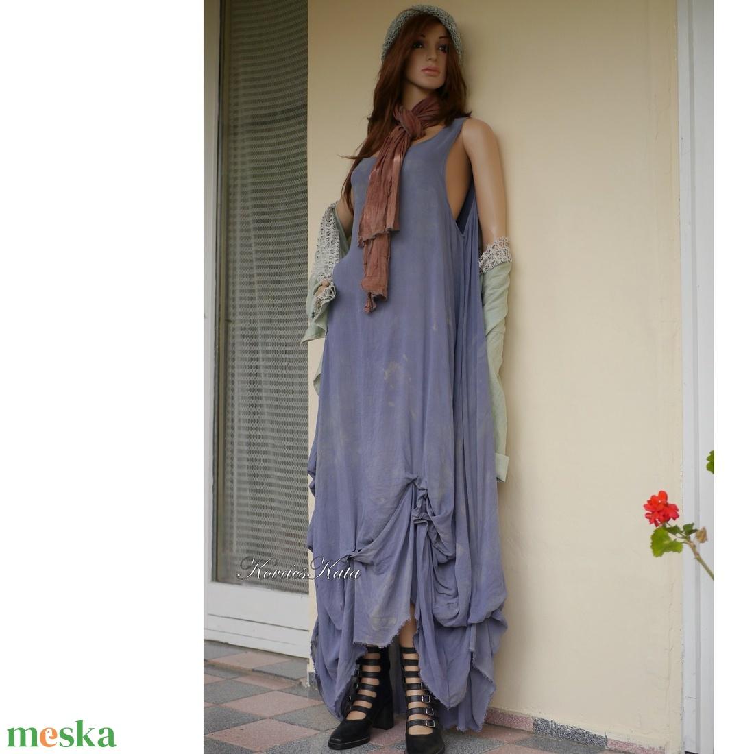 KIM / szürke zsorzsett - lagenlook design ruha XXL - ruha & divat - női ruha - ruha - Meska.hu
