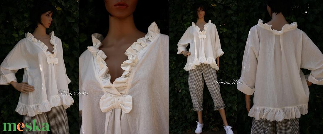 MIA - romantikus batiszt blúz - ruha & divat - női ruha - blúz - Meska.hu
