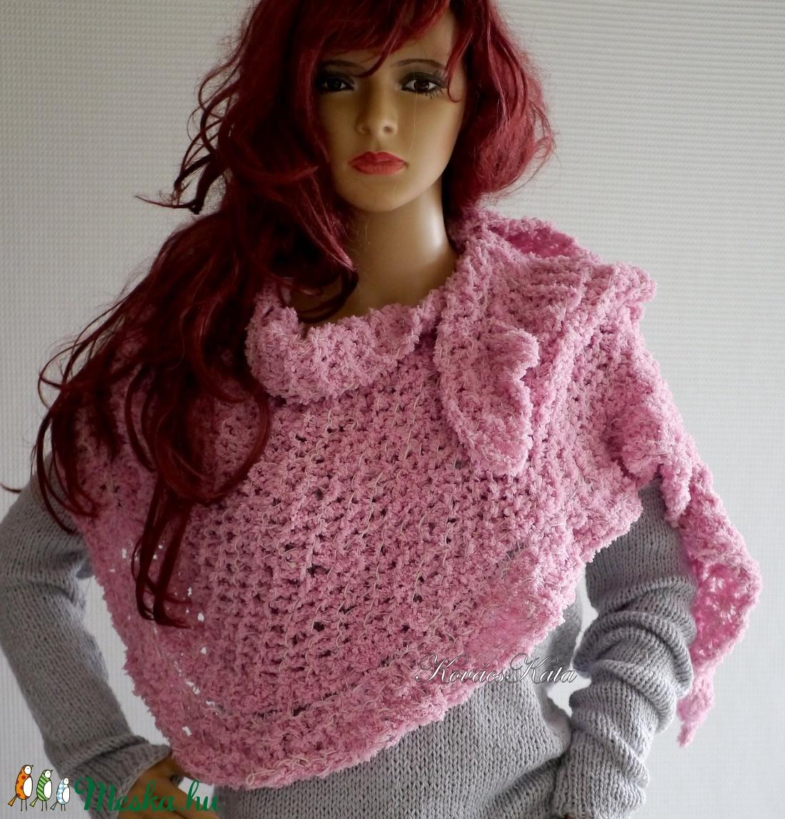 GERDA-KENDŐ - romantikus kézzel kötött vállkendő / rózsaszín - ruha & divat - sál, sapka, kendő - vállkendő - Meska.hu