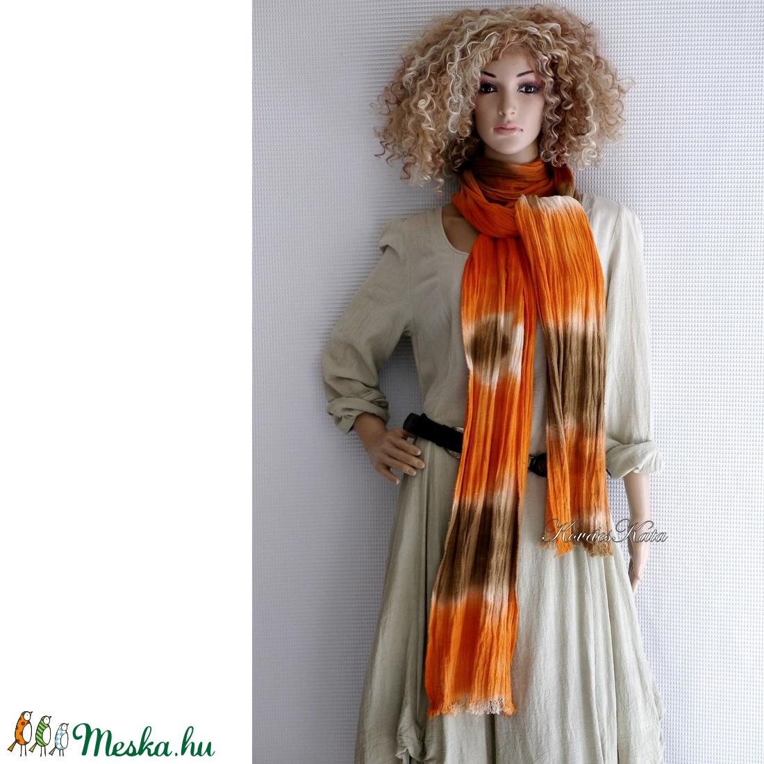SZAFARI-SÁL / narancs-barna batikolt extra-hosszú gézsál - ruha & divat - sál, sapka, kendő - sál - Meska.hu