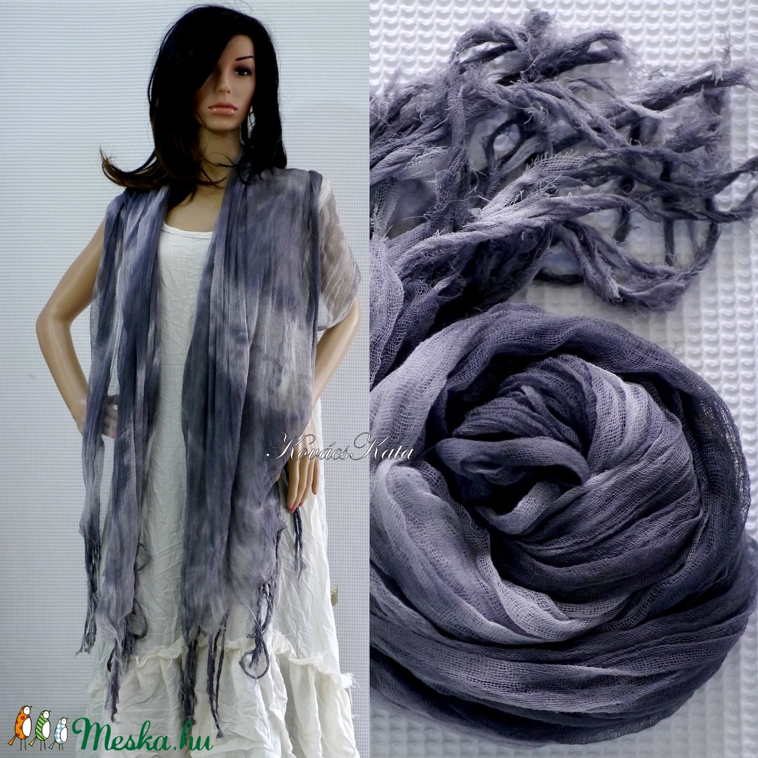 PIXY nimfa-stóla : batikolt, szabdalt géz stóla, sál / ANTRACIT - ruha & divat - sál, sapka, kendő - stóla - Meska.hu