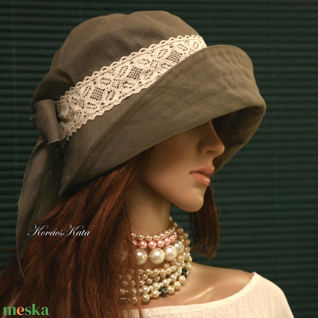 TANIA - lenvászon design kalap  - ruha & divat - sál, sapka, kendő - kalap - Meska.hu