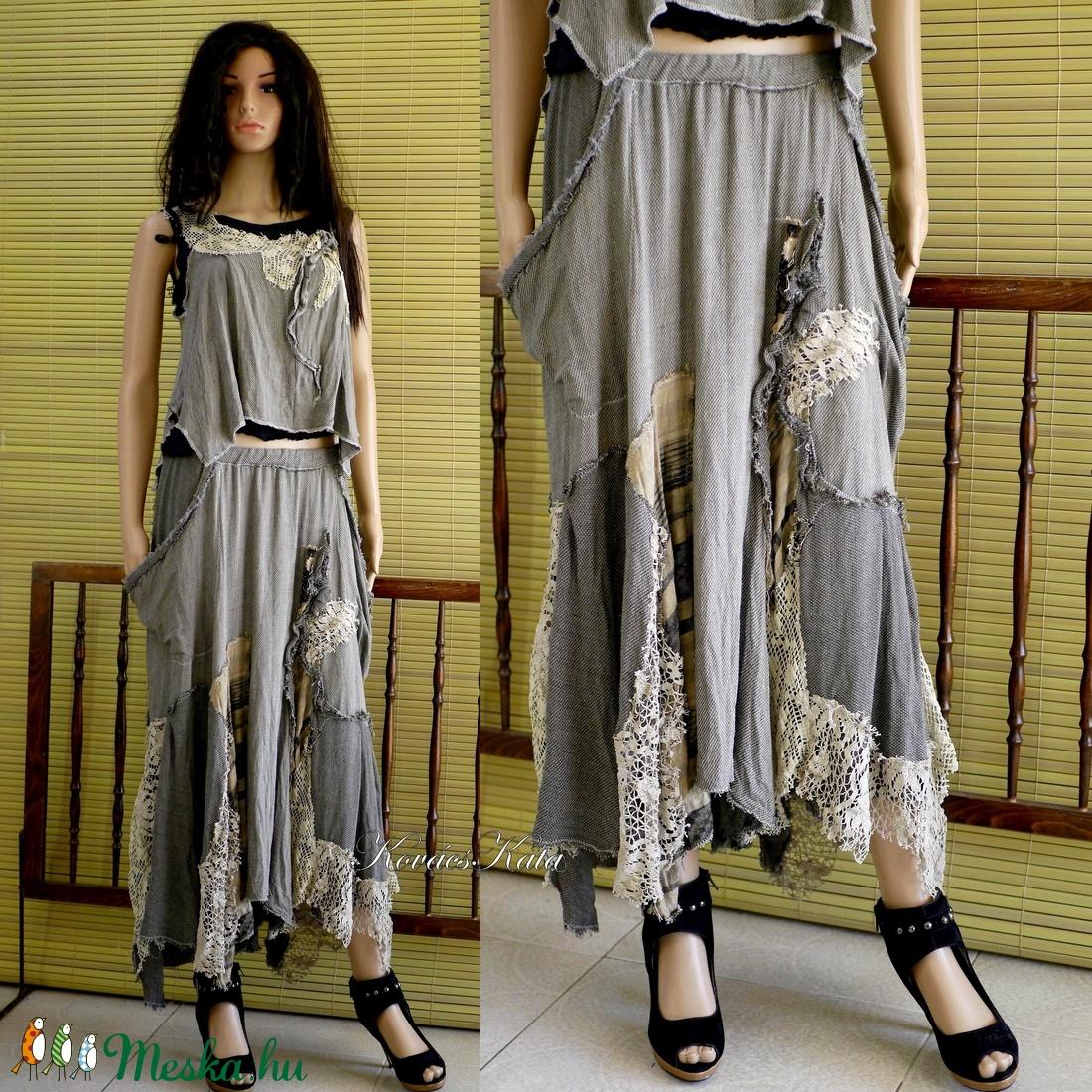 GINGER-SZETT - bohém patchwork szoknya toppal - ruha & divat - női ruha - ruha - Meska.hu
