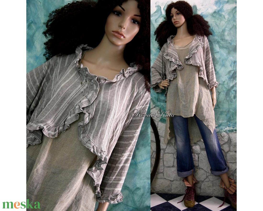 SIMONE - romantikus lenvászon design kabátka - ruha & divat - női ruha - bolero - Meska.hu