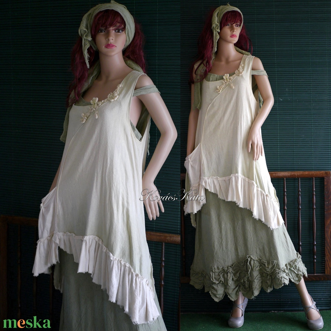 ILMA - burett-selyem tunika, shabby chic kötényruha - ruha & divat - női ruha - tunika - Meska.hu