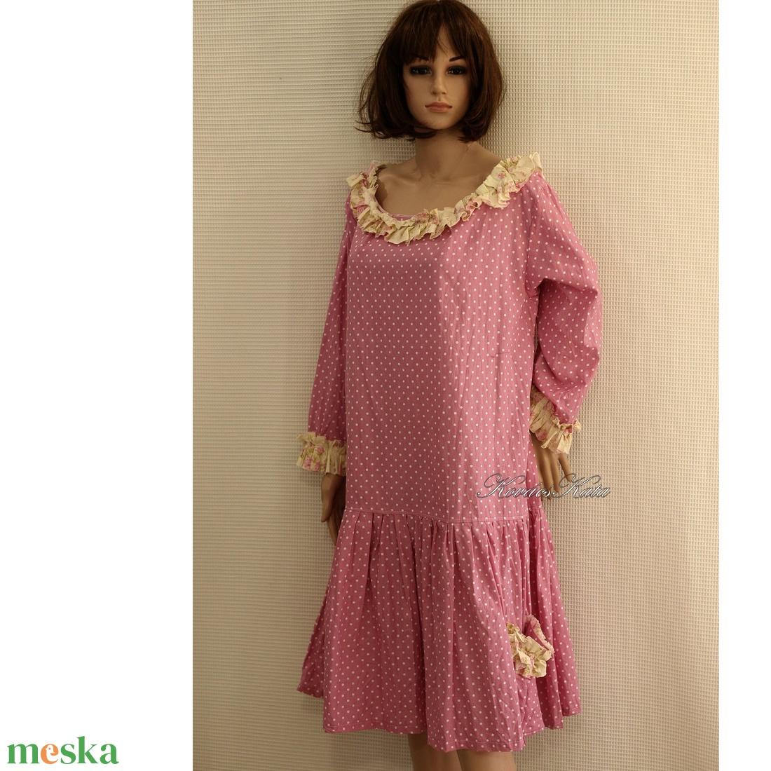 KAMILLA - pink pöttyös flapper-ruha - ruha & divat - női ruha - ruha - Meska.hu