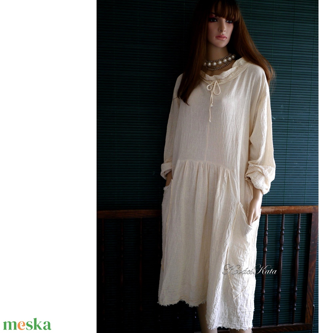 ANTHEA - lagenlook babydoll-ruha /natúr - ruha & divat - női ruha - ruha - Meska.hu