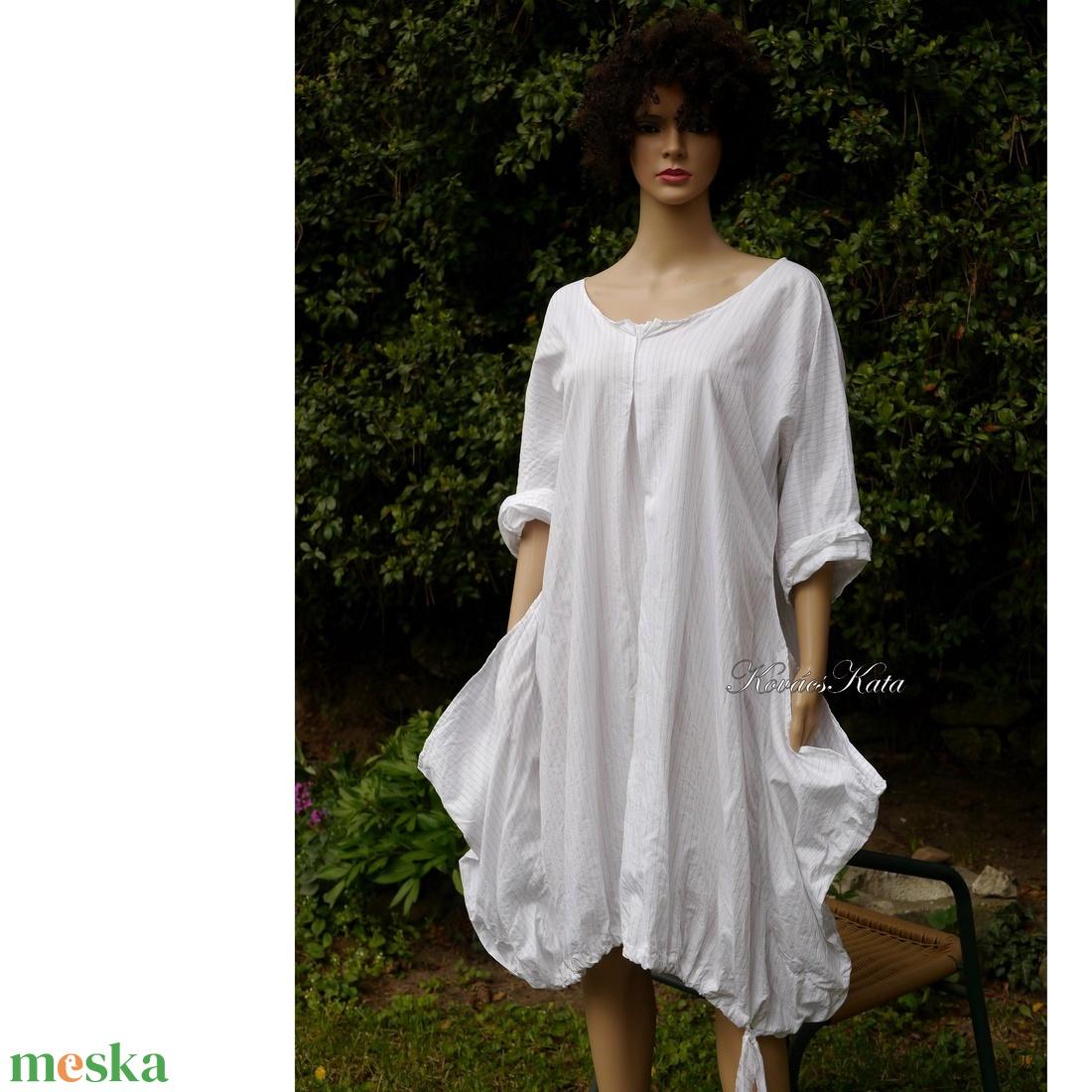 NICOLE / csíkos puplin - lagenlook tunika-ruha - ruha & divat - női ruha - ruha - Meska.hu