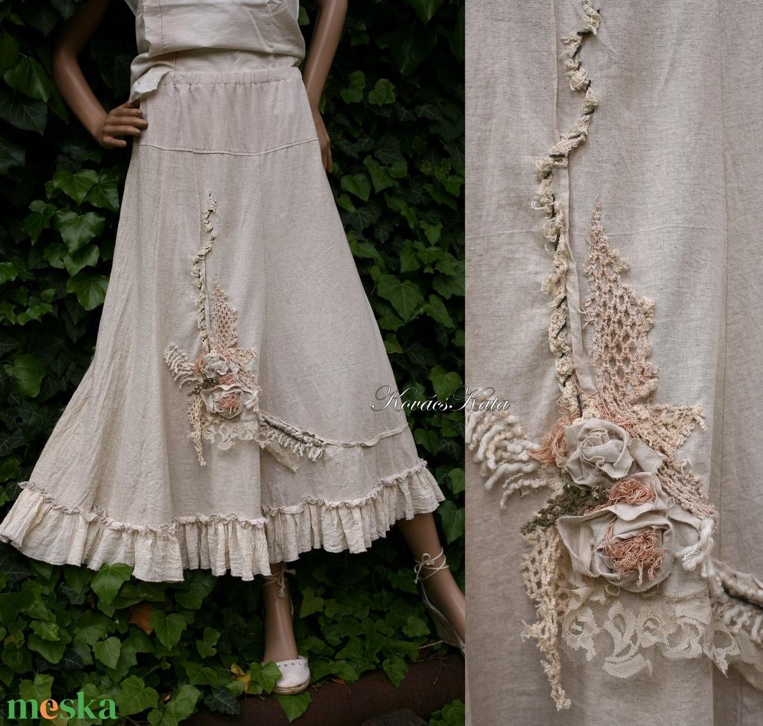 RÉKA - artsy applikált romantikus vászon szoknya   - ruha & divat - női ruha - szoknya - Meska.hu