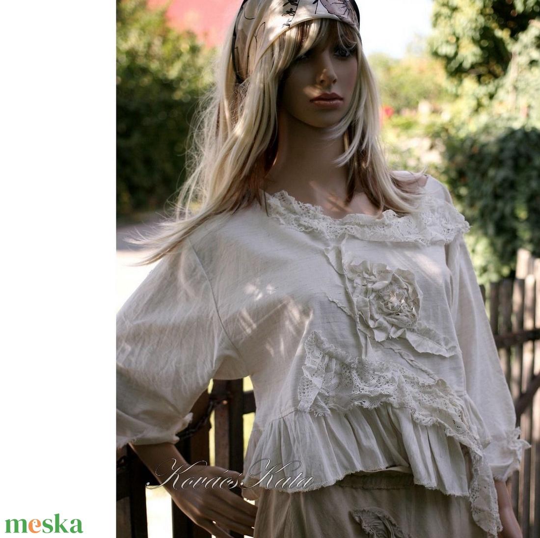 IRMA - artsy rövid vászon blúz - ruha & divat - női ruha - blúz - Meska.hu