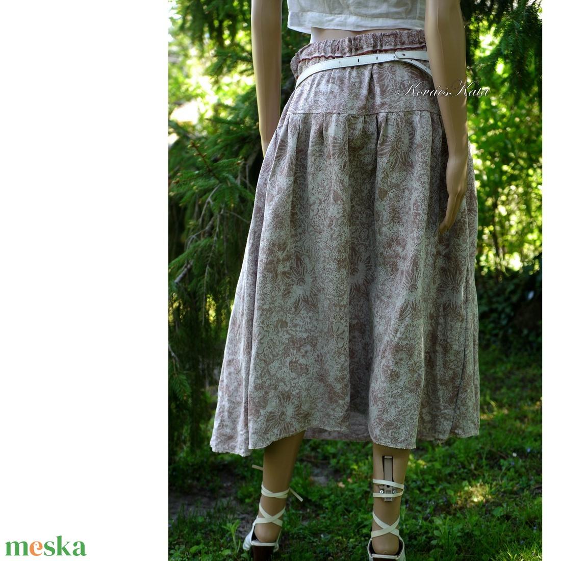 KITTY - jacquard lenvászon szoknya - ruha & divat - női ruha - szoknya - Meska.hu