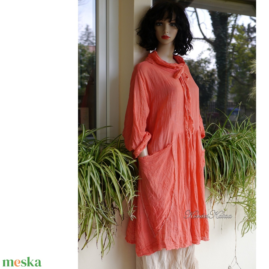 ANTHEA - lagenlook babydoll-ruha / korall - ruha & divat - női ruha - ruha - Meska.hu