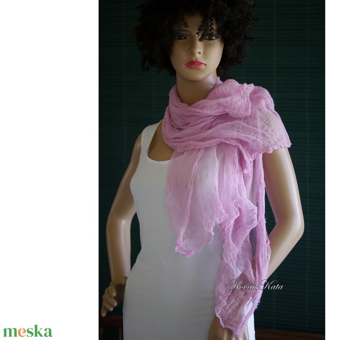 MULL-KENDŐ / tearózsa - batikolt géz sál - ruha & divat - sál, sapka, kendő - sál - Meska.hu