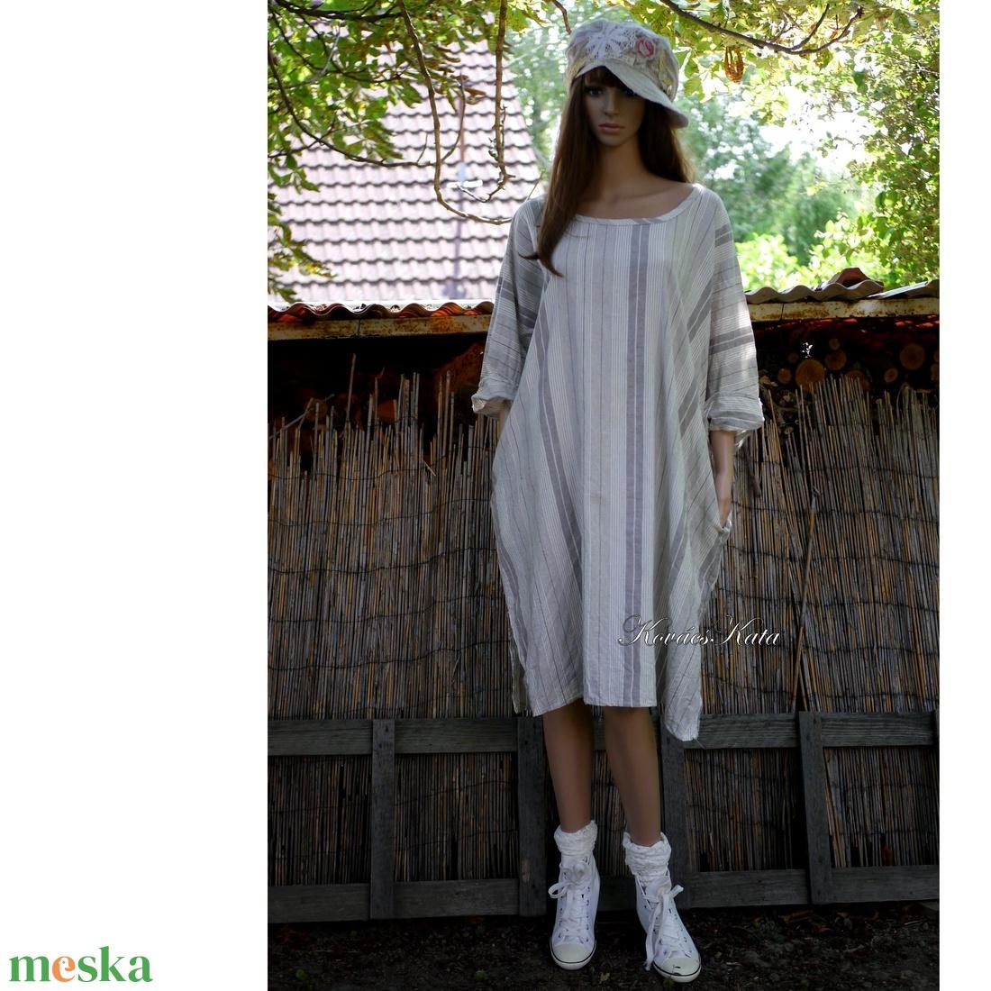 DETTI - lenvászon tunikaruha, csíkos ingruha - ruha & divat - női ruha - ruha - Meska.hu