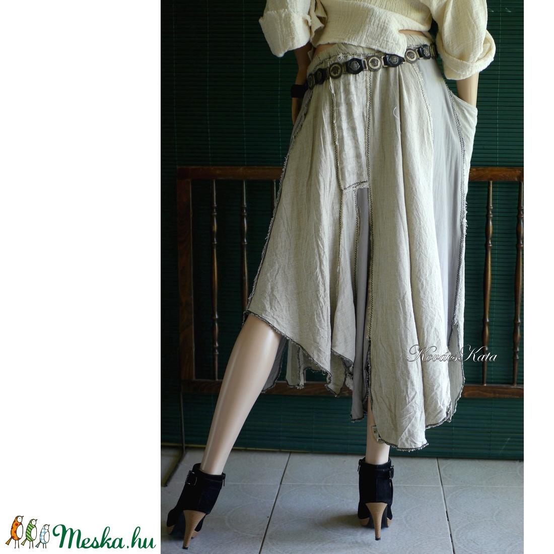 LONCSOS LEN-SZOKNYA - extravagáns patchwork szoknya - ruha & divat - női ruha - szoknya - Meska.hu