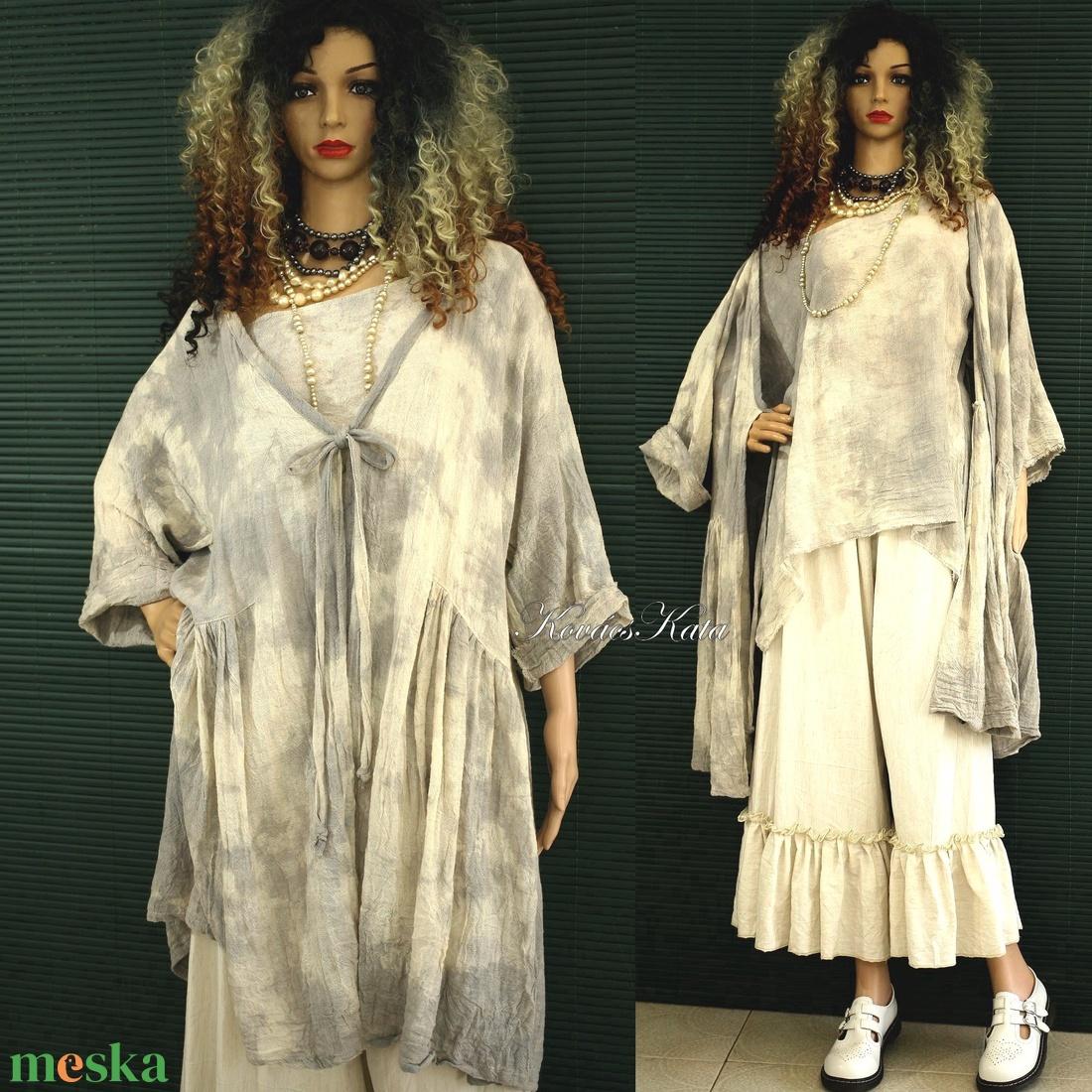 PAULA BOCI-SZETT - batikolt lagenlook átkötős kabátka  toppal - ruha & divat - női ruha - kabát - Meska.hu