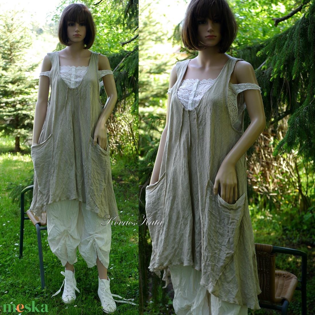 KARINA - flax len lagenlook tunika, kötényruha - ruha & divat - női ruha - tunika - Meska.hu