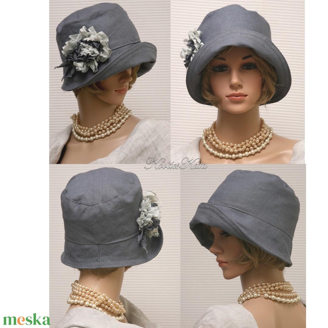 MARA cloche - acélszürke flapper kalap - ruha & divat - sál, sapka, kendő - kalap - Meska.hu