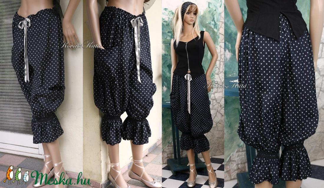 PILLE-NADRÁG - gyűrt selyem design nadrág ELVIRA - ruha & divat - női ruha - nadrág - Meska.hu