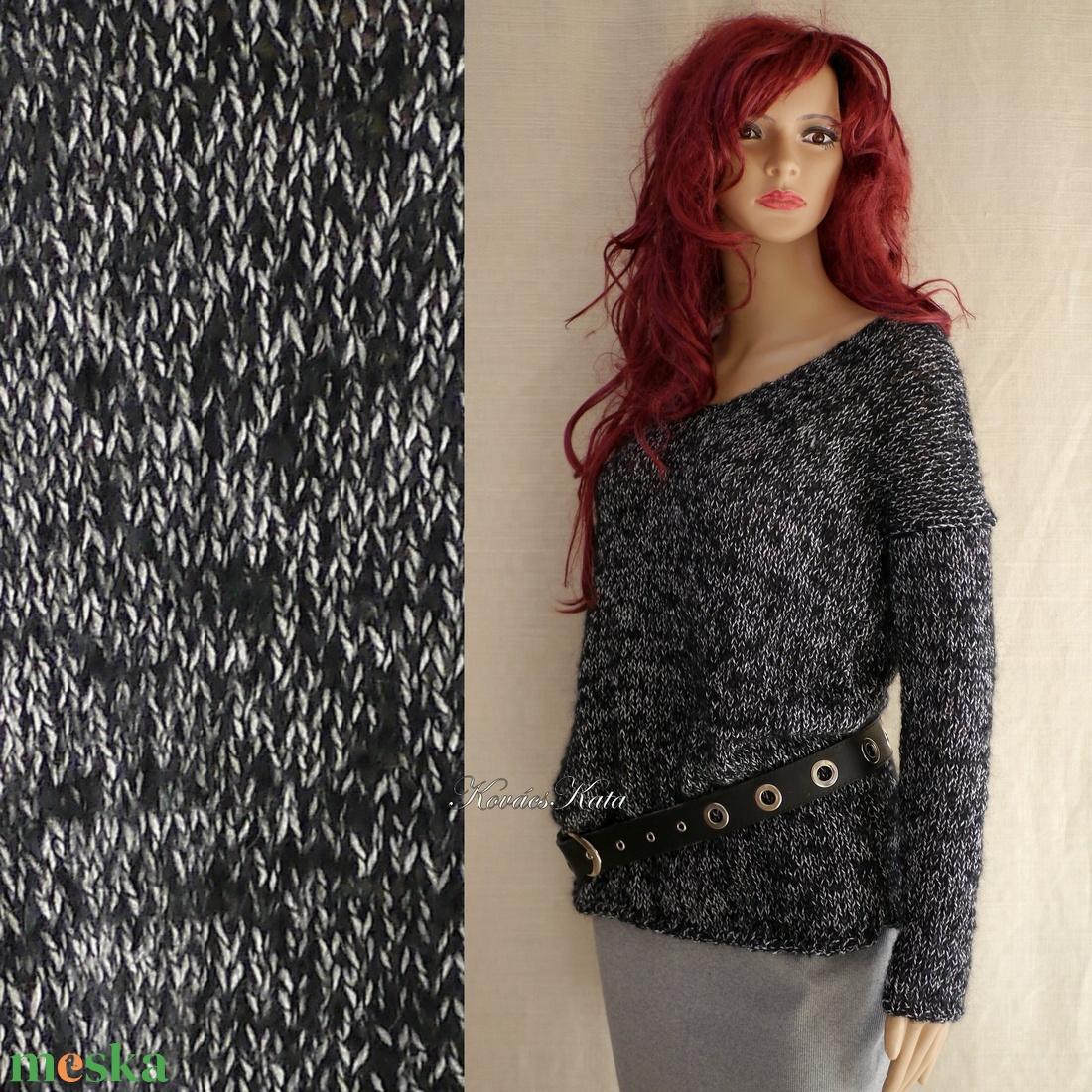 SELYEM-MOHAIR PULCSI - exkluzív kézzel kötött pulóver / fekete-mákos VERA - ruha & divat - női ruha - pulóver & kardigán - Meska.hu