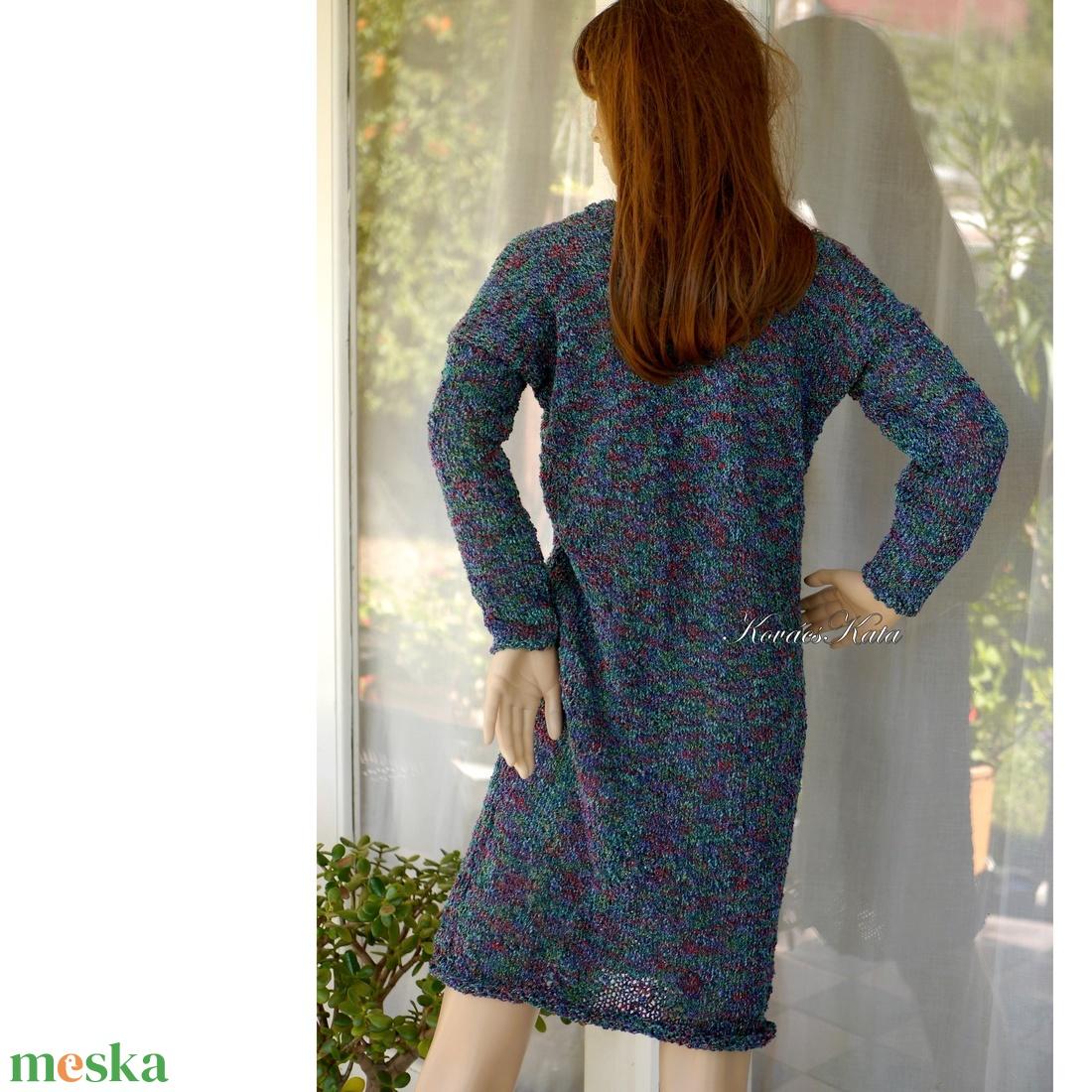 LIZA -bukléruha - kézzel kötött pulóver-ruha / cirmos buklé - ruha & divat - női ruha - pulóver & kardigán - Meska.hu