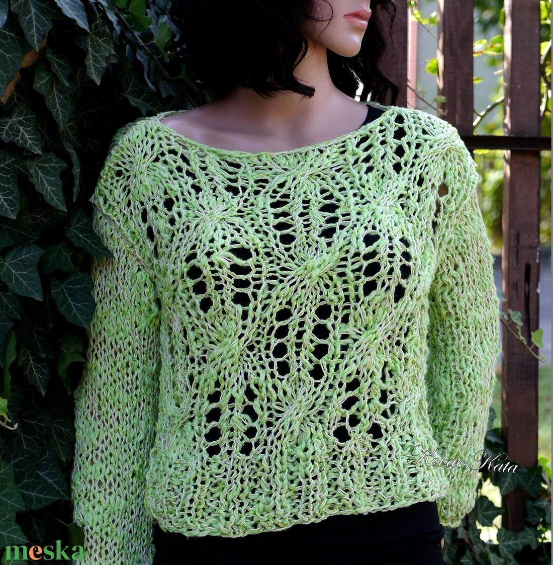 LOTTE - exkluzív kézzel kötött pulóver / zöldalma - ruha & divat - női ruha - pulóver & kardigán - Meska.hu