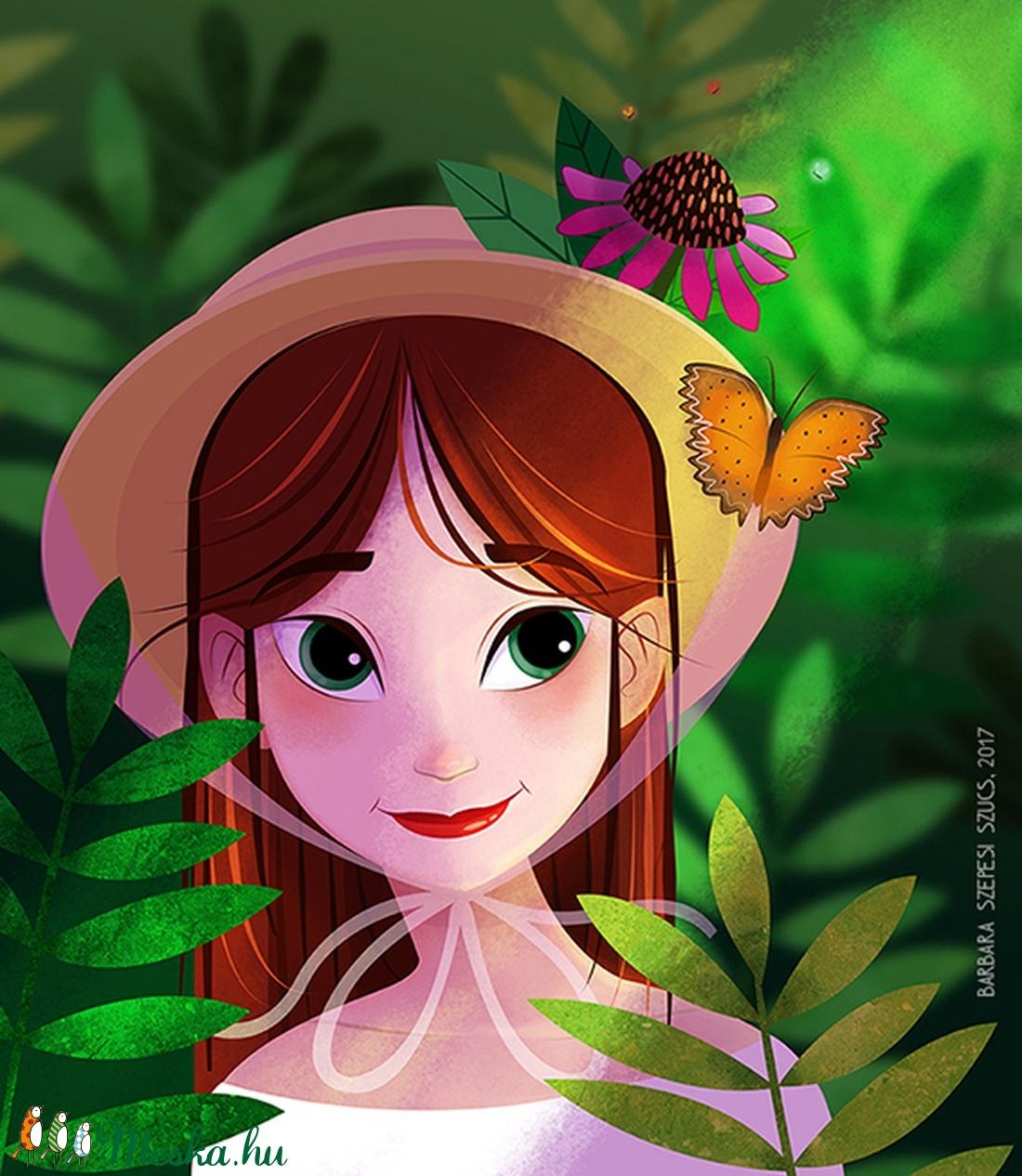 Lány kalapban - Print (Digitális) (bubadesign) - Meska.hu