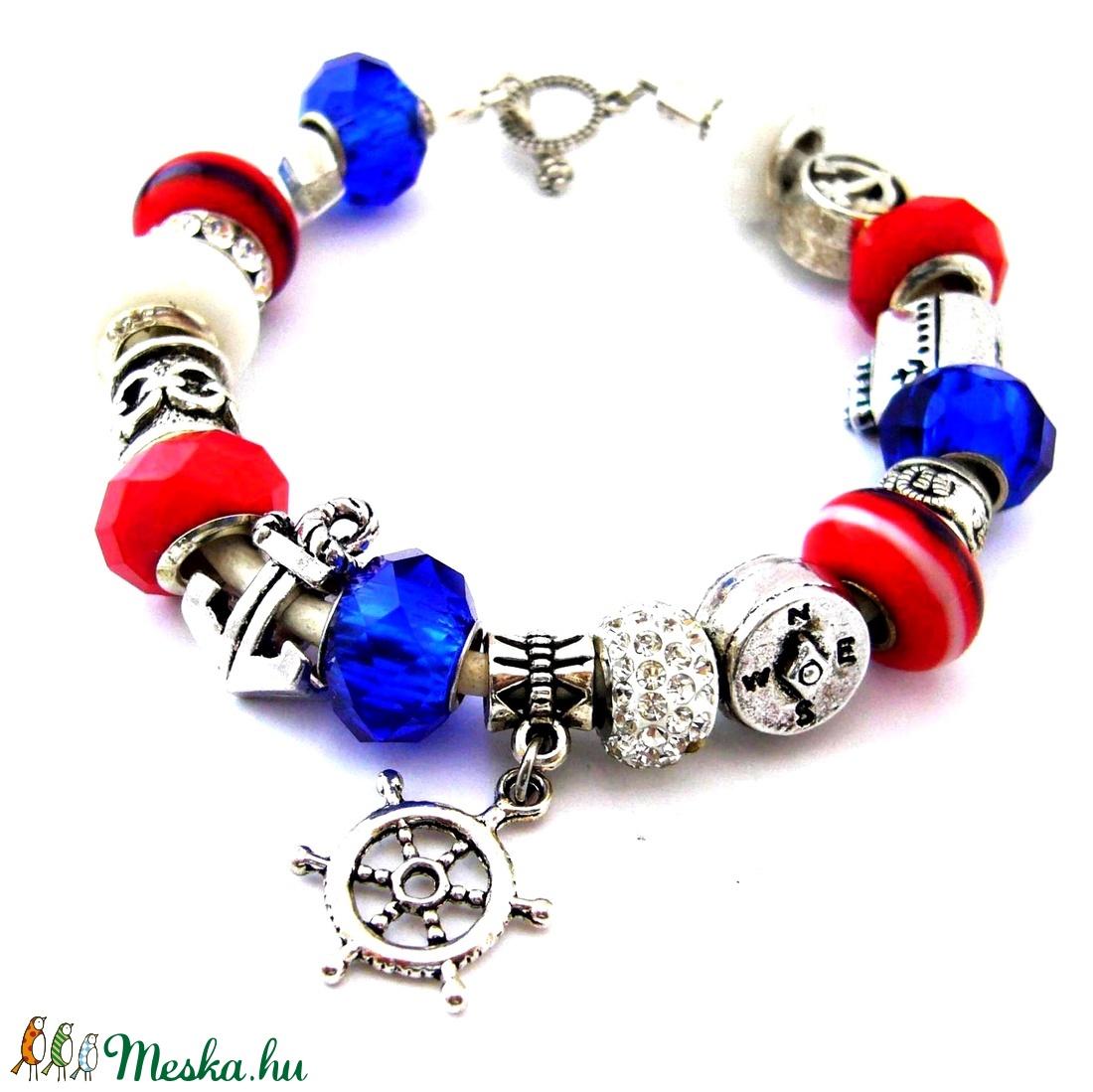 b75134131 Horgonyt fel! - kék piros fehér matróz karkötő pandora stílusban  vasmacskával (ButterflyJew) - Meska.hu