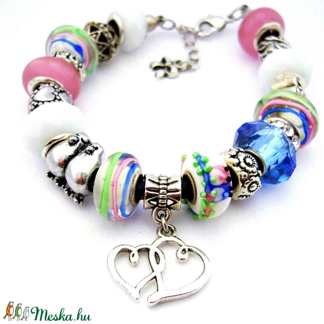 0c0f1f751 Tubicám! - fehér, rózsaszín és kék romantikus charm karkötő pandora  stílusban galambpárral (ButterflyJew) - Meska.hu