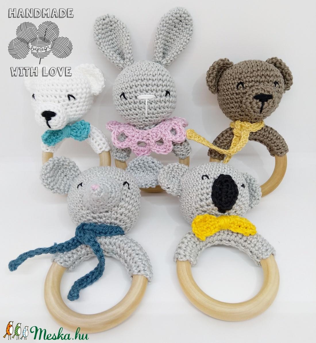 Horgolt állatos rágóka - játék & gyerek - 3 éves kor alattiaknak - rágóka - Meska.hu