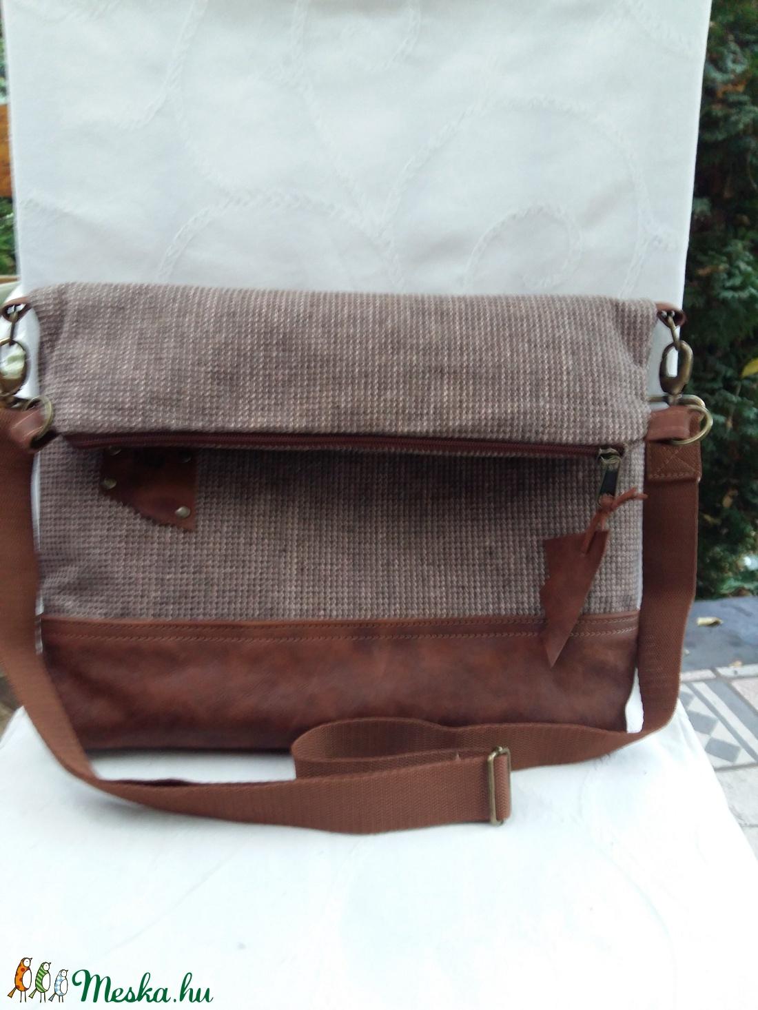 AKCIÓ 9500 fT Táska Válltáska ipad táska barna szövettáska valódi bőrrel  kombinálva Unisex táska (BYildi) - Meska.hu b6882cab56