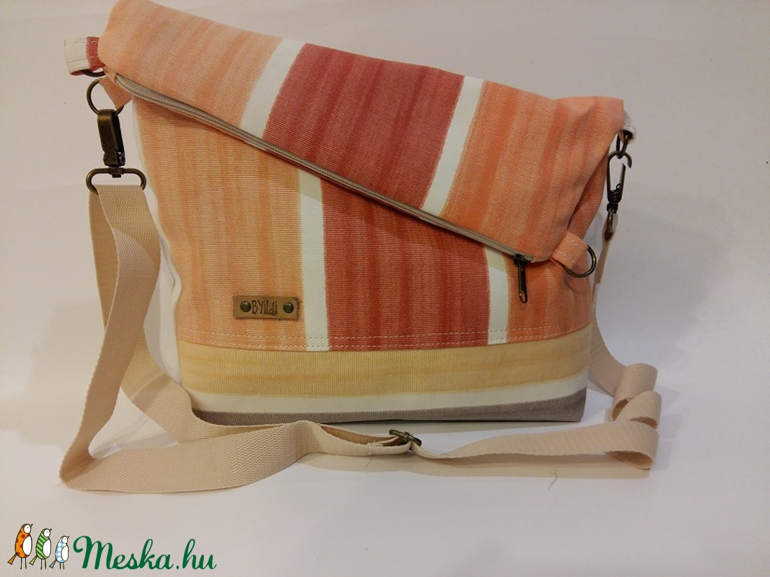 Táska Válltáska ipad táska narancssárga csíkos táska vajszínű állítható  hevederrel (BYildi) - Meska.hu 532a55b48e