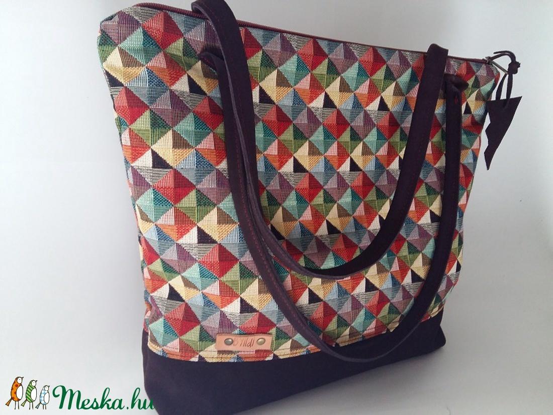 Táska Színes szövet táska valódi bőrrel kombinálva. Női táska  mindennapokra. (BYildi) - Meska.hu a67582f4e5