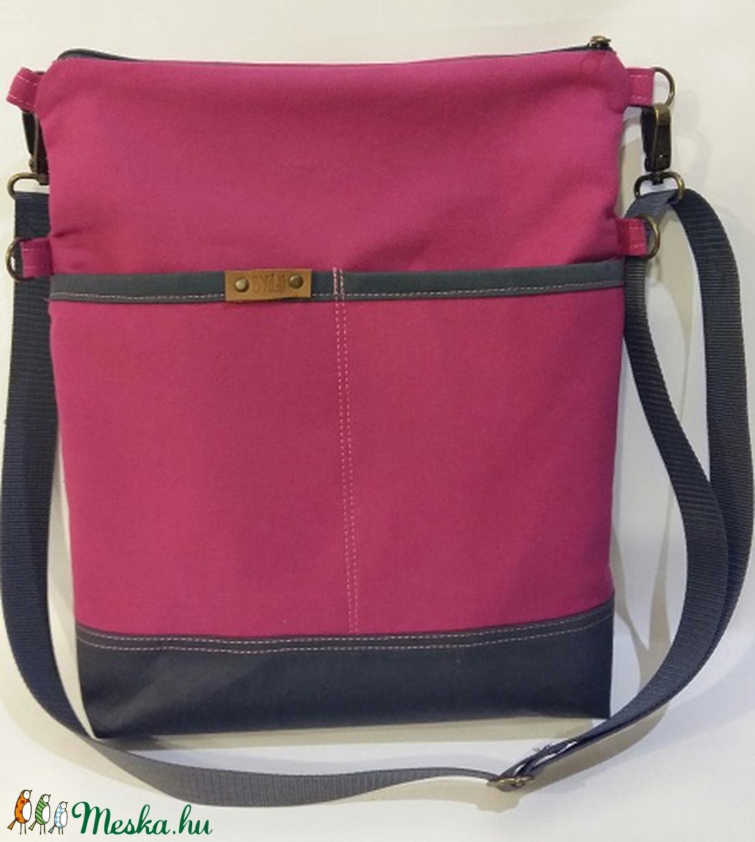 Táska Válltáska ipad táska rózsaszín vászontáska sötétszürke állítható  hevederrel (BYildi) - Meska.hu 485c5614bb