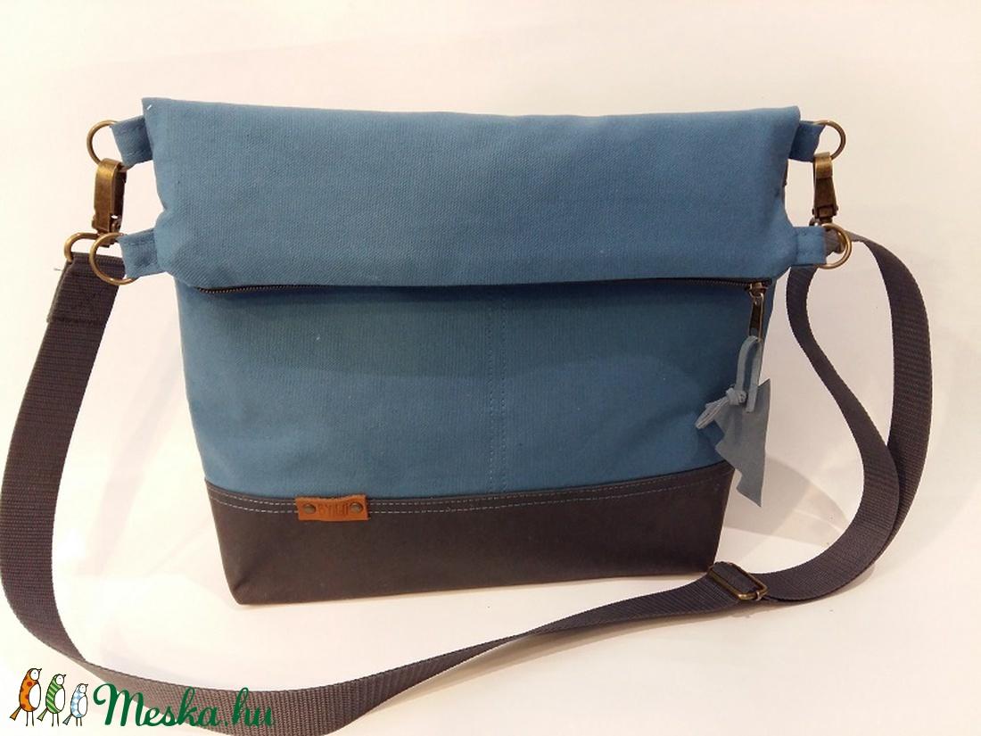 Táska Unisex Válltáska ipad táska kék vászontáska sötétszürke állítható  hevederrel (BYildi) - Meska.hu 0f65742ef5