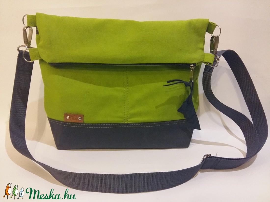 Táska Válltáska ipad táska zöld vászontáska sötétszürke állítható  hevederrel (BYildi) - Meska.hu 2965dd5321