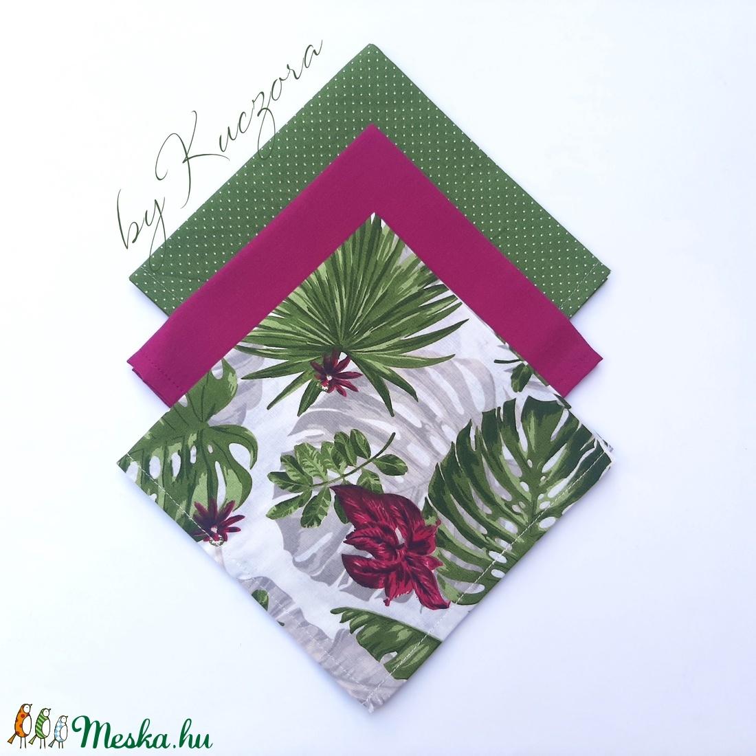Textil zsebkendő szett, öko zsebkendő szett - Pálmaleveles, trópusi leveles (byKuczora) - Meska.hu