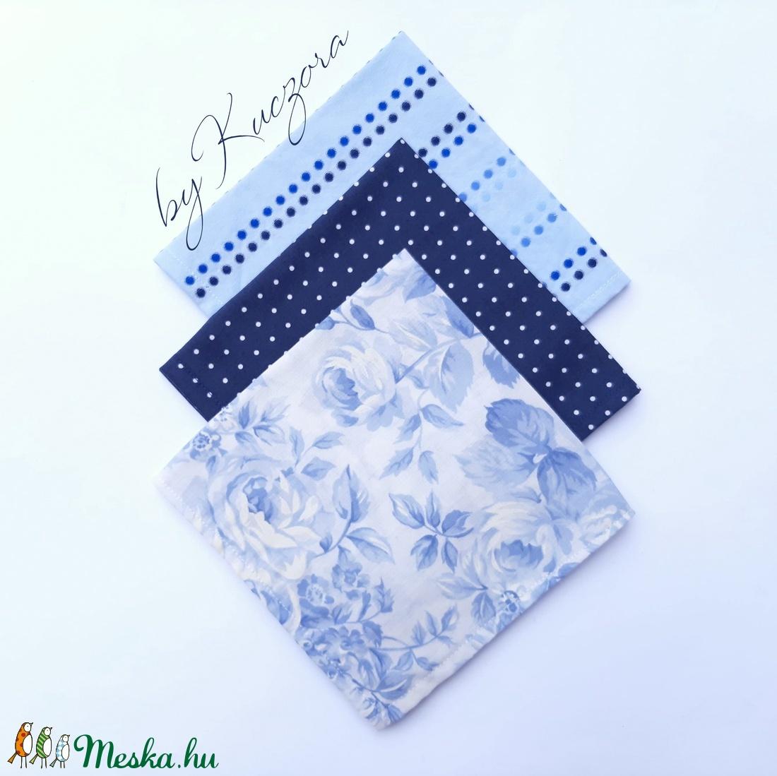 Textil zsebkendő szett, öko zsebkendő szett -Kék rózsás (byKuczora) - Meska.hu