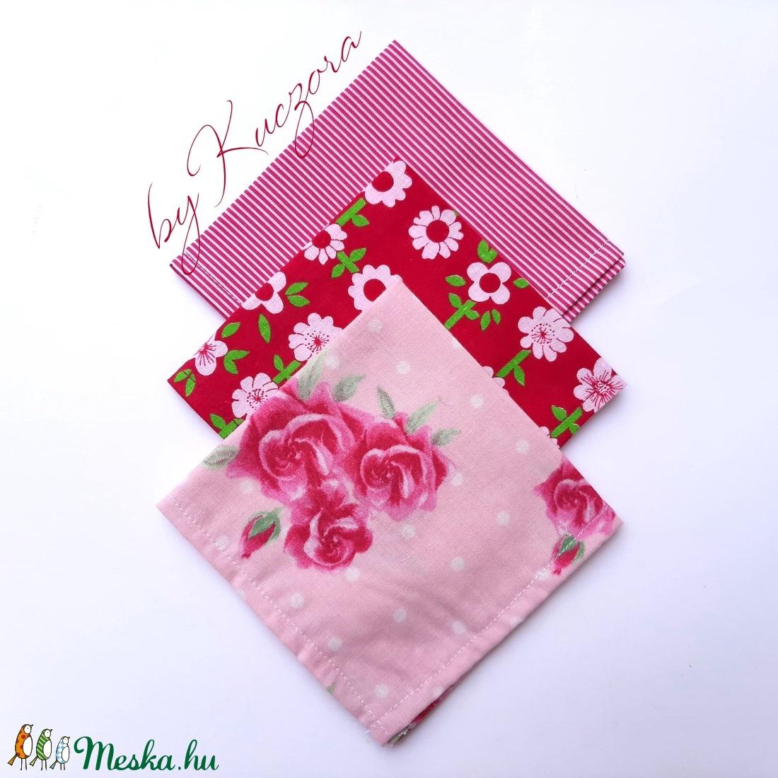 Textil zsebkendő szett, öko zsebkendő szett - pink (byKuczora) - Meska.hu