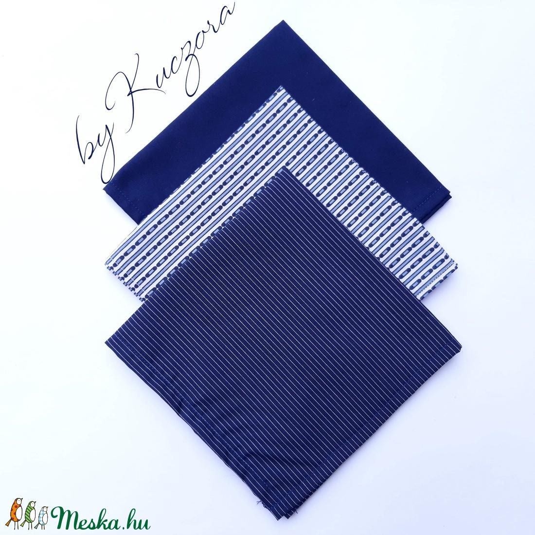 Textil zsebkendő szett, öko zsebkendő szett -Kék csíkos (byKuczora) - Meska.hu