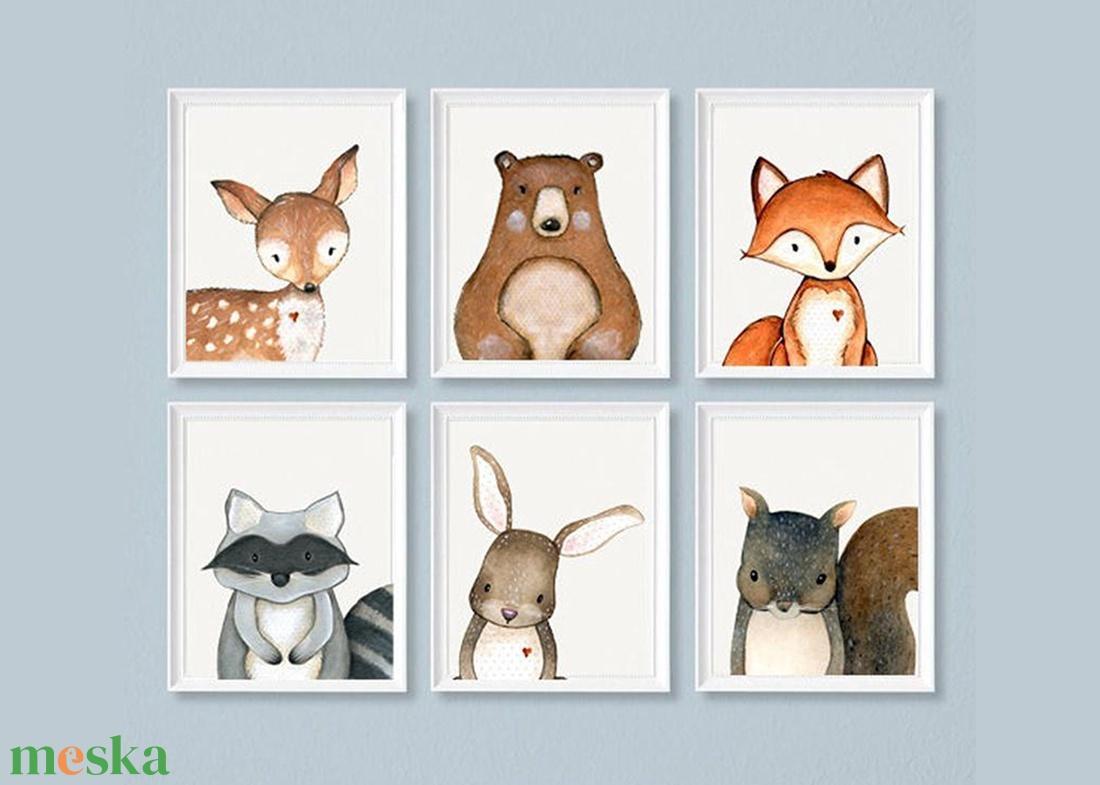 Erdei állatos falikép szett A4-as, 6db-os állatos dekoráció, Nyuszi, Róka, Őz, Maci, Mókus, Mosómedve falikép szett  - Meska.hu
