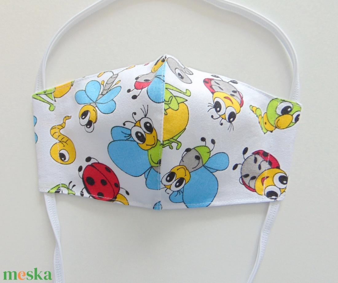 Gyermek- maszk / Színes bogár mintás szájmaszk, textil szájmaszk, többször használható szájmaszk - maszk, arcmaszk - gyerek - Meska.hu