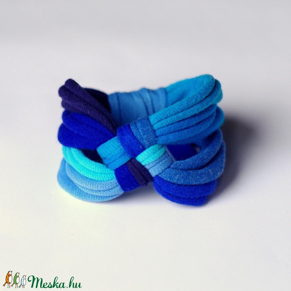 DIAGONAL - textil karkötő, kék (cirrhopp) - Meska.hu