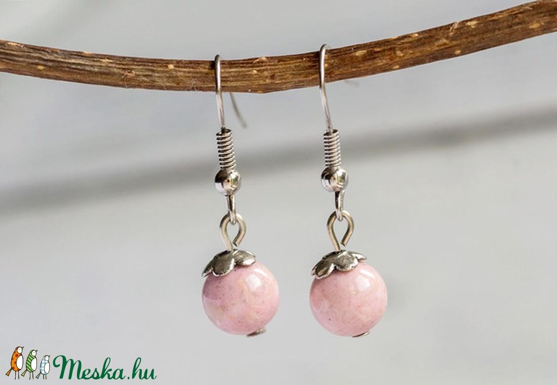 Simplicity - rózsaszín mountain jade fülbevaló (citycharms) - Meska.hu
