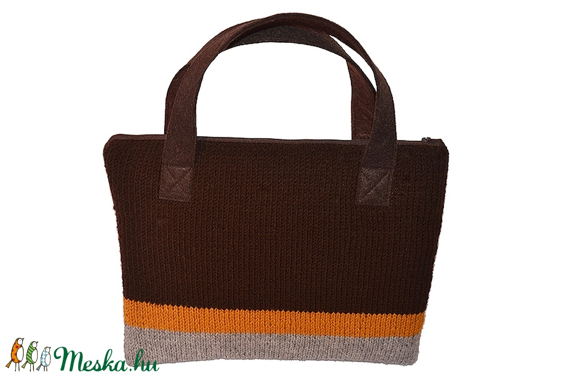 Kézzel kötött laptop-táska barna-szürke (Colibrishop) - Meska.hu 07bc4052ab